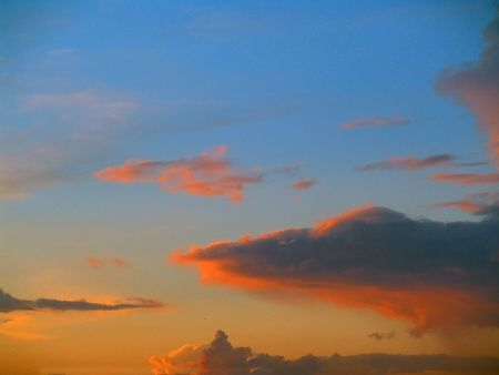 Evening sky and clouds in Moscow area