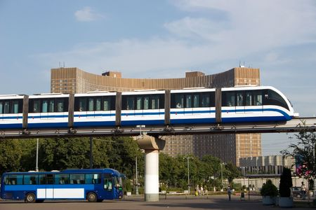 train carriages, building, monorail