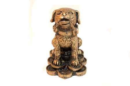 foretell: statuetka dog, money, coins, old