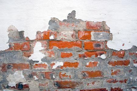 decrepitude: wall, plaster, brick, decrepitude, old