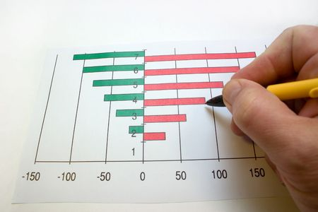 hand with a ball-point pen, noting on a diagram