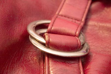 vanity bag: red vanity bag from leatherette on a light background Stock Photo