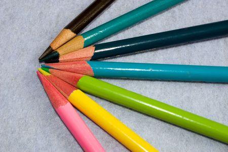sharpened crayons pencils on a light background Standard-Bild