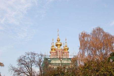 cathedral on a background blue sky of Novodevich'ego of monastery in Moscow, Russia