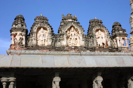 fretted sculpture of ancient hindu temple
