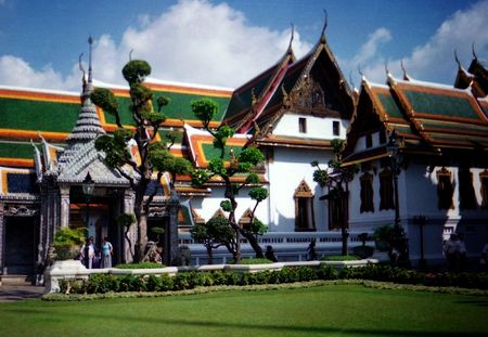Complex of pagodas in a sun day in Thailand