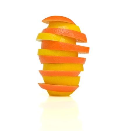 yeloow: Tower of citrusTower of citrus, lemon and orange on the white background