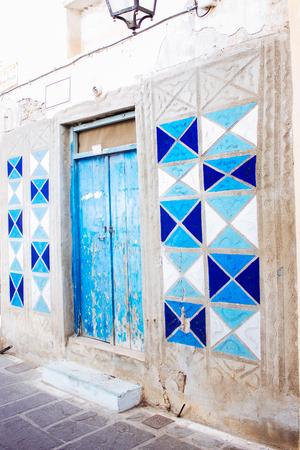 rethymno: Old door facade in city of Rethymno, Crete, Greece