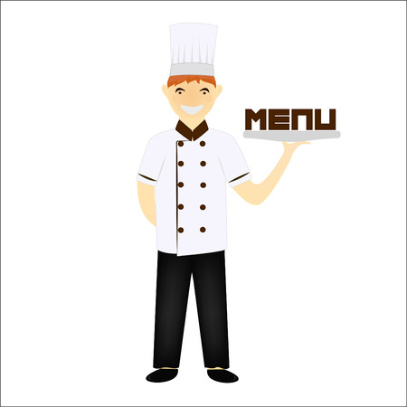specialities: Chief chef cook in kitchen luxury restaurant in uniform illustration