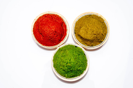 varity Thai cuisine nam prik or chili paste spices of Thailand in cup ready for cooking thai foods on wood vintage background