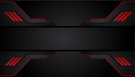 Black and red metal background. Vector metallic banner. Abstract technology background.