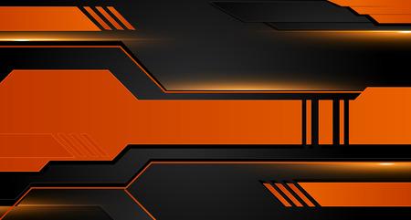 Orange and black geometric abstract corporate background. Vector Иллюстрация