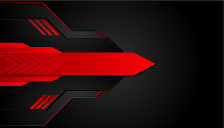 Black and red metal background. Vector metallic banner. Abstract technology background. Иллюстрация