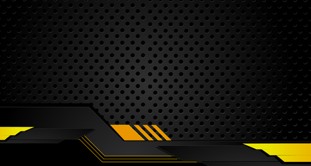 abstract metallic Yellow orange black frame design innovation concept layout background.Vector digital art Иллюстрация
