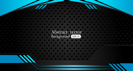 abstract metallic blue black frame design innovation concept layout background.
