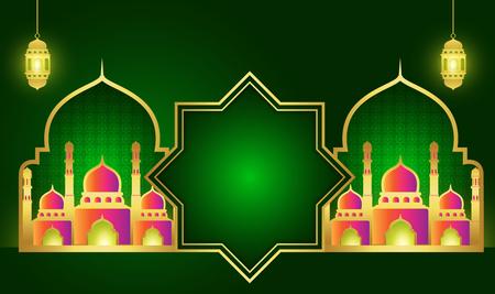 Ramadan Kareem或Eid Mubarak。壁纸设计模板。问候背景我猛击与金子的金子。