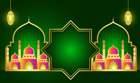 Ramadan Kareem or Eid mubarak. Wallpaper design template. greeting backgroundI slamic with gold patterned.