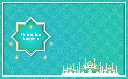 Ramadan Kareem Paper Graphic of Islamic art Vector illustration