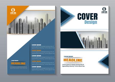 Diseño de portada de libro creativo naranja azul.