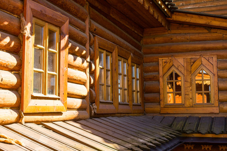 dacha: Windows with wooden architraves  Blockhouse