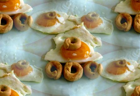 huevos estrellados: Huevos fritos 3 Foto de archivo