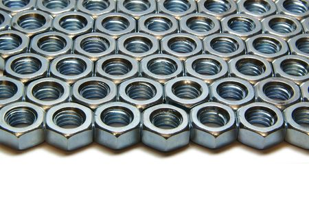 Screw-nuts, rows, columns, steel, close up, macro Stock Photo - 6713307