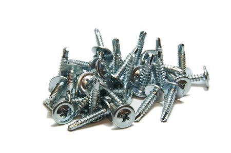 screw, isolated, close-up, heap, metallic, many, industry Stock Photo - 6714605