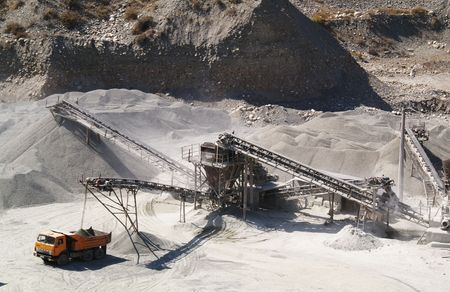 gravel pit: sand-pit Stock Photo