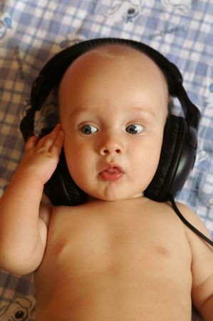 Baby, DJ, music, portrait, boy, small, blond photo