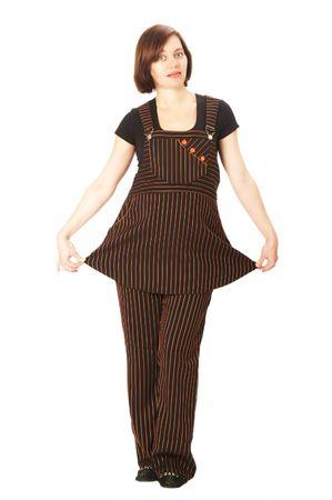 trouser: girl; trouser; suit; striped; woman; pregnant; portrait Stock Photo