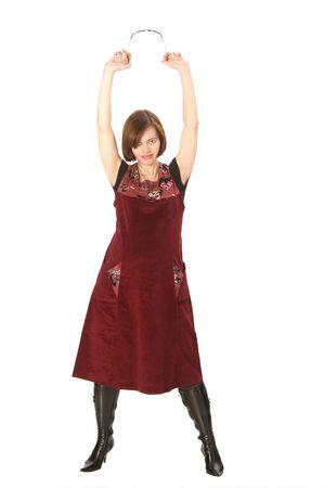 girl; portrait; full-length; hands; raise; up; her photo