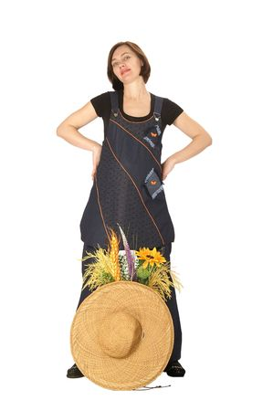 Beautiful woman with hat and flowers Stock Photo - 6696654