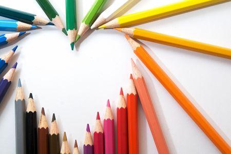 dessin coeur: crayons de couleur Banque d'images