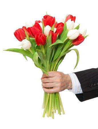 mazzo di fiori: braccio di uomo che dà mazzo