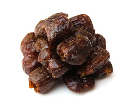 dates isolated on white, dried fruits photo