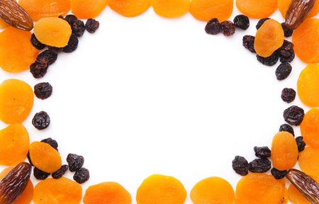 frame, dried fruits (apricot, raisin and date) photo