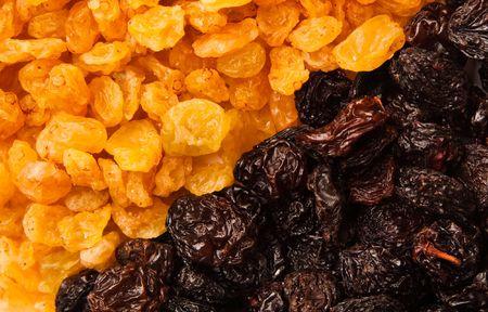 black and yellow raisins (sultana), dried fruits photo