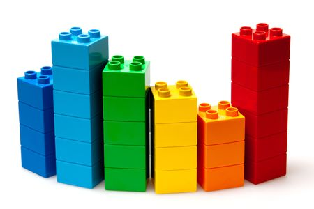 plastic toys: color diagram isolated on white