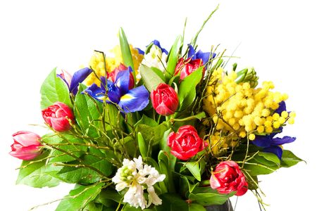 large group of objects: beautiful bouquet of flowers isolated on white