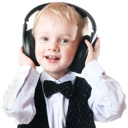 little boy isolated on white photo