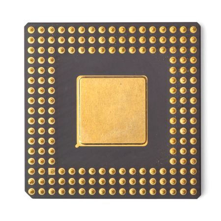 chip and pin: computer processor isolated on white Stock Photo