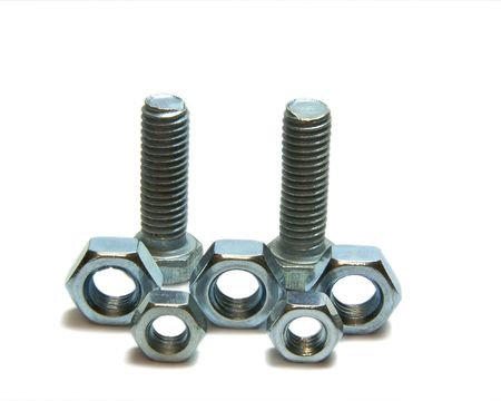 Two head bolts and Five screw nuts photo