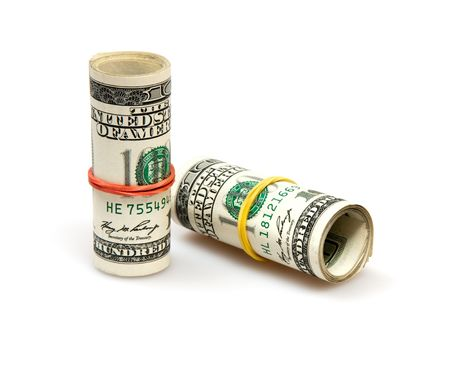 roll of dollars isolated on white photo