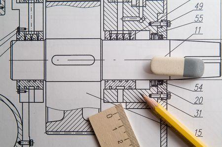 mechanical: ontwerp tekening  Stockfoto