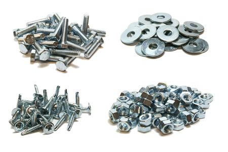 fastening objects: Bolts, washers, screws, nuts Stock Photo