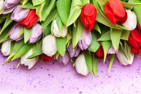 beautiful bouquet of tulips, different colors photo