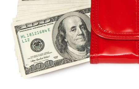 red purse with money photo