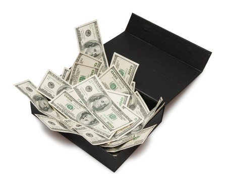 dollars in black box, money photo