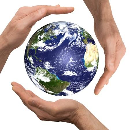 global health: arm hold earth