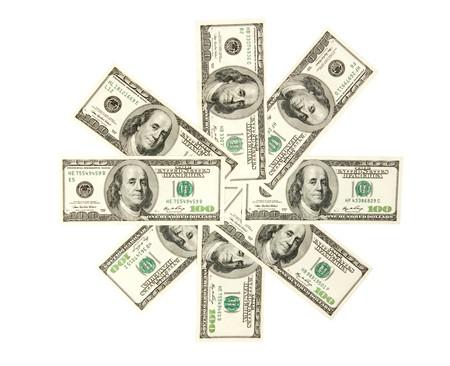 fan, dollars isolated on white photo